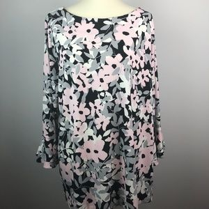 NEW Charter Club Floral Blouse Pink Black 3X
